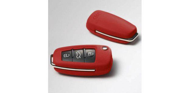 Carcasa Cheie Piele Audi OE - Rosu Crimson