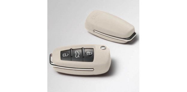 Carcasa Cheie Piele Audi OE - Alb Alabastru